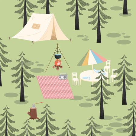 camping adventure scene forest landscape