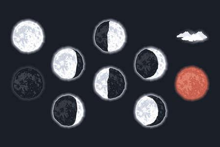 ten moon phases scene icons