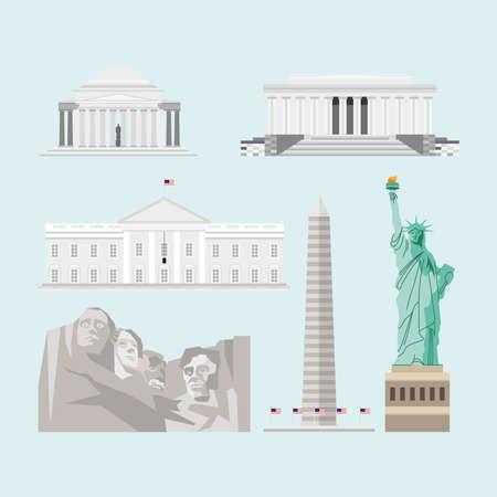 usa set famous monuments landmarks