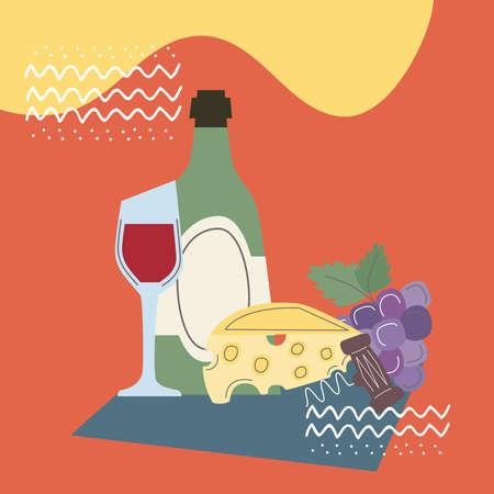 wine time menu with food Vektoros illusztráció
