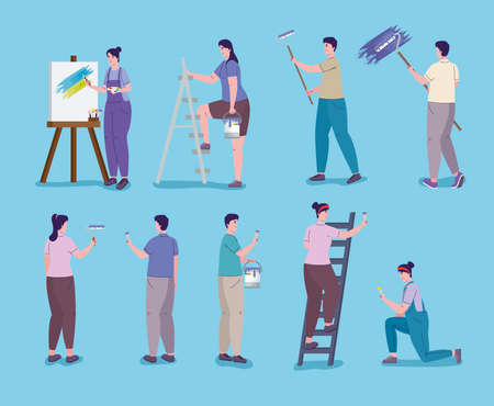 people painting in different poses