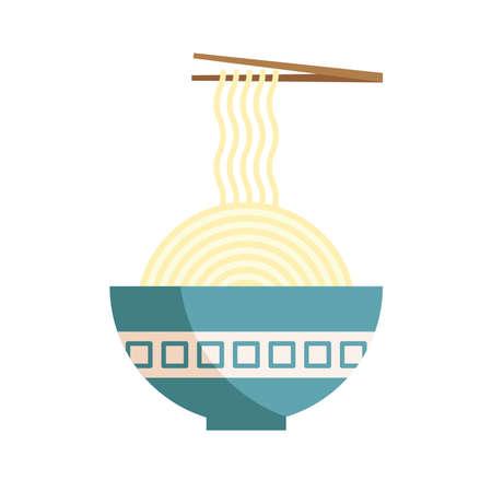 japanese spaguetis with chopsticks icon Vecteurs