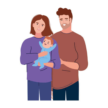 couple lovers with newborn
