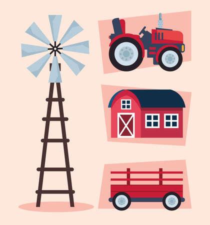 farming agriculture four icons Ilustracja