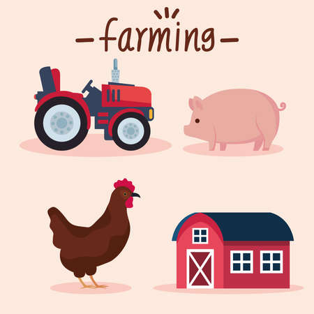 four farming agriculture icons