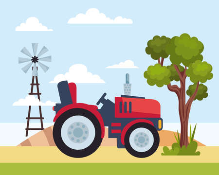 tractor and windmill Ilustracja