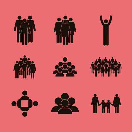 population nine silhouettes icons