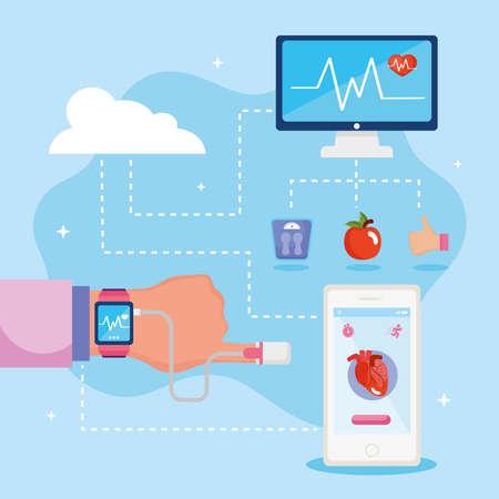 hand with health monitors Ilustracja