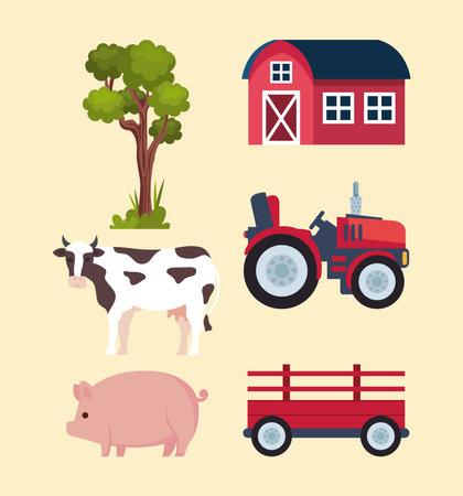 six farming agriculture icons Ilustracja