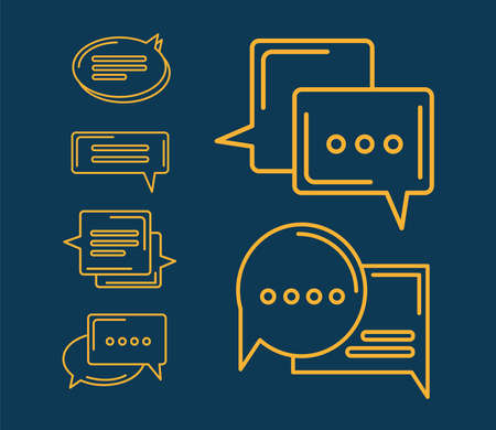 six yellow chat icons