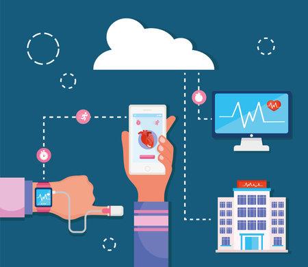 hands with health monitors Ilustracja