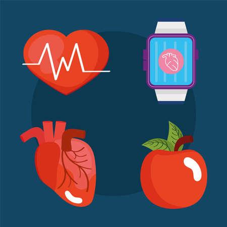 four wearable health monitors Ilustracja