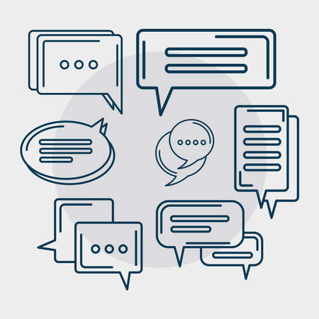 seven gray chat icons Ilustracja