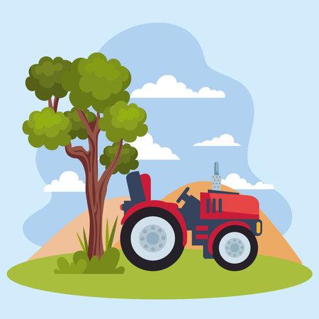 tractor and tree Ilustracja