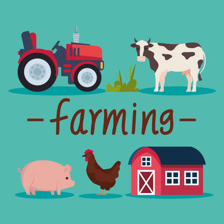 five farming agriculture icons