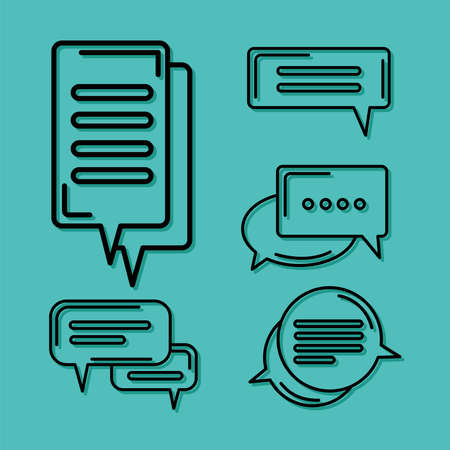 five chat icons Ilustracja
