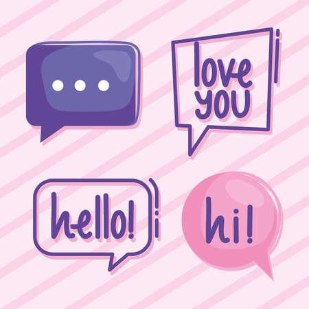 four virtual relationship icons Ilustracja
