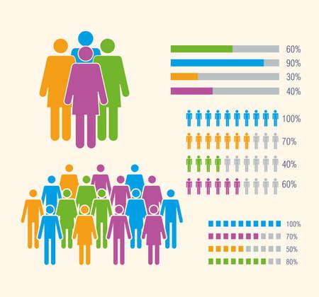 five population infographic icons Ilustracja
