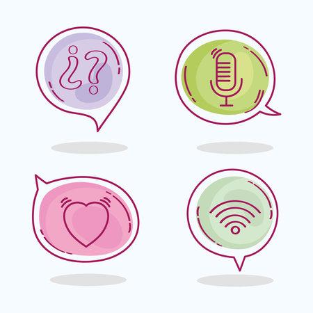four speech bubbles