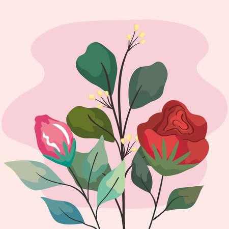 red flowers garden Ilustracja