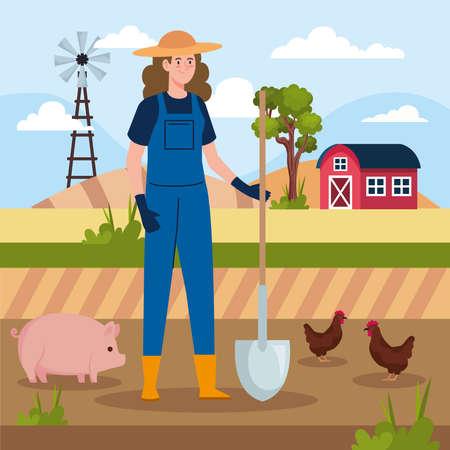 female farmer and animals Ilustracja