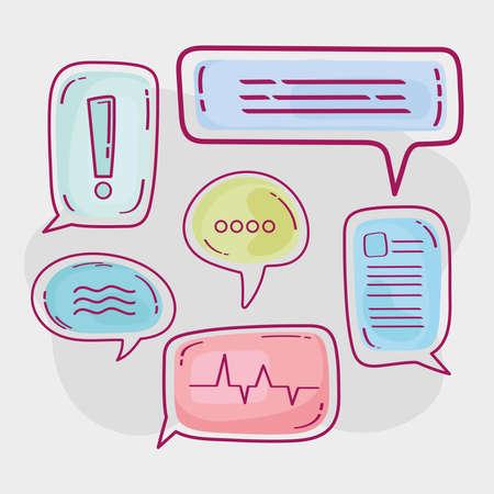 six speech bubbles Ilustracja