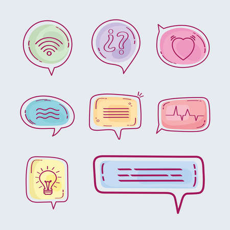 eight speech bubbles Ilustracja