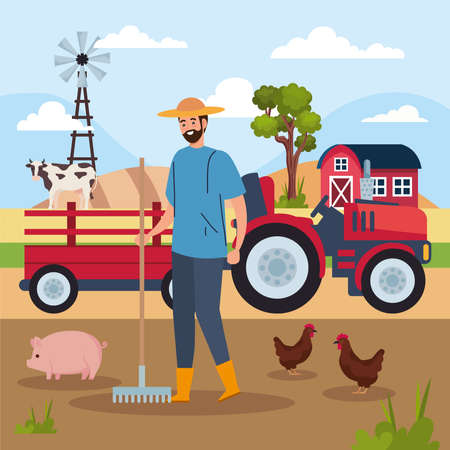 farmer and tractor