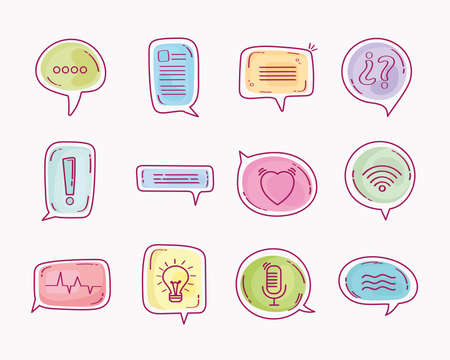 twelve speech bubbles Ilustracja
