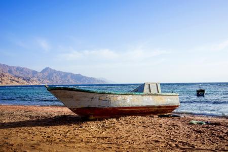dahab: Boat on dry land.  Red Sea. Dahab. Egypt