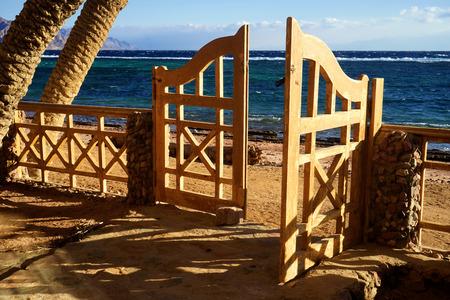 view through door: Sea view through the open door. Red Sea. Dahab. Egypt.