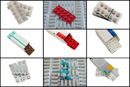 Collage with drugs on a white background photo