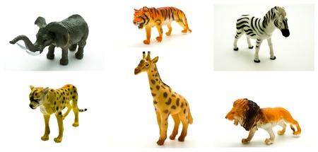 lion figurines: Toy animals. Collage. Stock Photo
