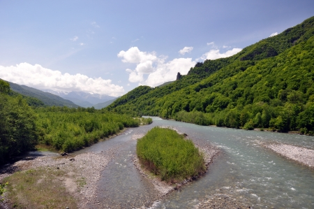 dombai: Mountain river, mountain, forest, dombai, clouds, sky, rocks, pines, trees