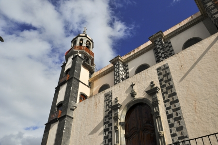 rushed: A beautiful church with a dome rushed to the blue sky, Spain Tenerife Stock Photo