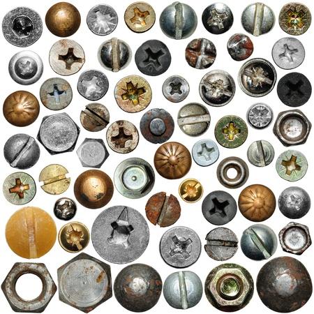 herramientas de construccion: Tornillos de cabeza de la colección Foto de archivo
