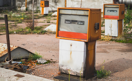 benzin: Old abandoned petrol pumps