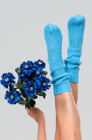 Beautiful sexy legs girls in knitted socks