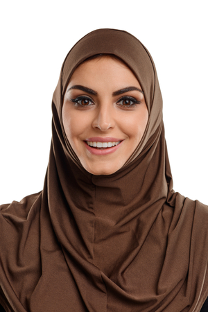 Asian woman wearing hijab. Pretty young lady with happy and surprise expression. Bust portrait, isolated on white.