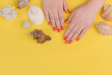 Hands with simple red manicure among seashells on yellow background. Bright nails for summer seaside holidays.