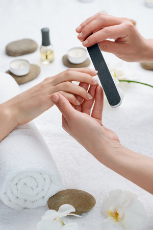 Treatment for nails at the SPA salon. Distressing procedure that gives your hands a fresh and beautiful look.