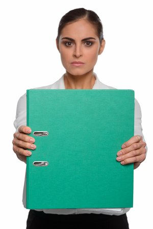 Nervous brunette shows a business plan Stock Photo