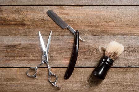 Scissors and sharp straight razor