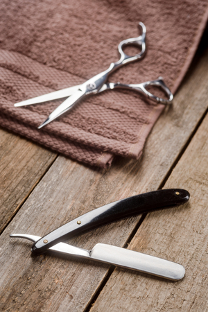 Straight razor and towel