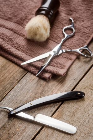 Straight razor, brush and towel