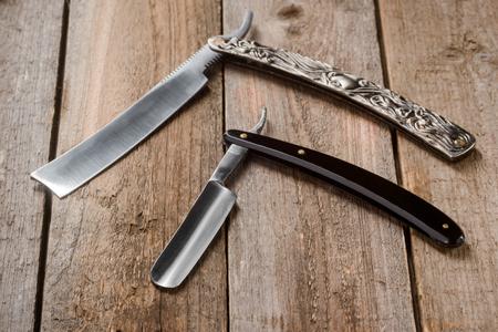 Vintage straight razors macro
