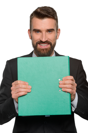 Great business plan in green folder