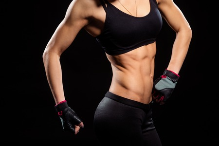 Fit torso of young woman.