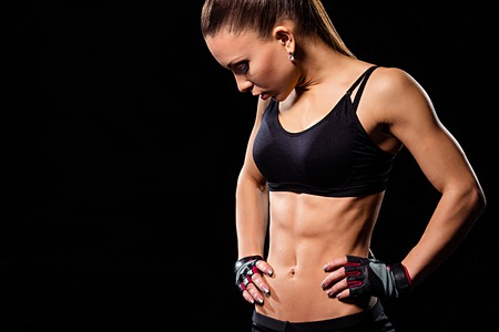 Young ladys fit body. Stock Photo