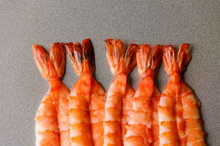 Tails of huge shrimps